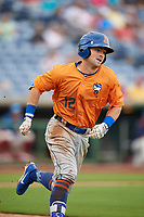 St. Lucie Mets right fielder Quinn Brodey (12) runs to first base during a game against the Clearwater Threshers on August 11, 2018 at Spectrum Field in Clearwater, Florida.  St. Lucie defeated Clearwater 11-0.  (Mike Janes/Four Seam Images)