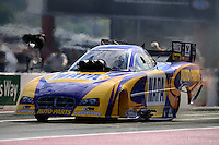 Sept. 14, 2012; Concord, NC, USA: NHRA funny car driver Ron Capps during qualifying for the O'Reilly Auto Parts Nationals at zMax Dragway. Mandatory Credit: Mark J. Rebilas-