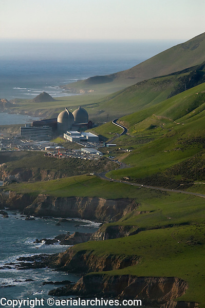 aerial photo of the Diablo Canyon nuclear power plant Avila Beach California Pacific coast PG&E with two Westinghouse reactors