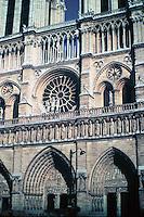 Notre Dame--detail of facade in Paris, France. Gothic design