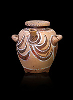Luxury Minoan Kamares Ware pot with spout and lid with polychrome decorations , Phaistos 1900-1700 BC; Heraklion Archaeological  Museum, black background.<br /> <br /> This style of pottery is named afetr Kamares cave where this style of pottery was first found