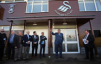 Pictured: Steve Kaplan, Jason Levien, Landon Donovan and John Toshack MBE Tuesday 04 April 2017<br />Re: Official opening of the Fairwood Training Complex of Swansea City FC, Wales, UK