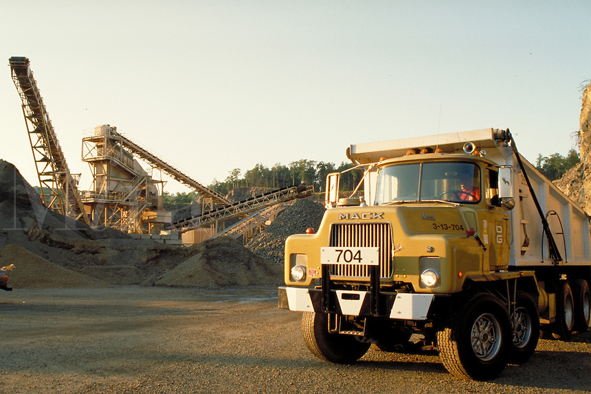 Stone crusher, conveyer, Mack 5 axle dumptruck, horz. Southbury CT USA.