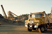 Stone crusher, conveyer, Mack 5 axle dumptruck, horz. Southbury CT USA.