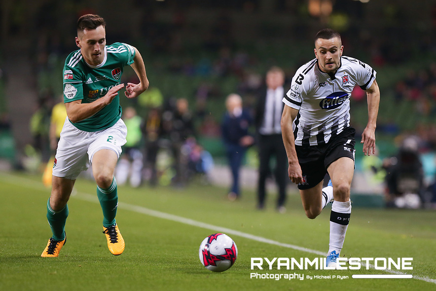 Michael Duffy  of Dundalk in action against Conor McCarthy  of Cork City during the Irish Daily Mail FAI Cup Final between Dundalk and Cork City, on Sunday 4th November 2018, at the Aviva Stadium, Dublin. Mandatory Credit: Michael P Ryan.