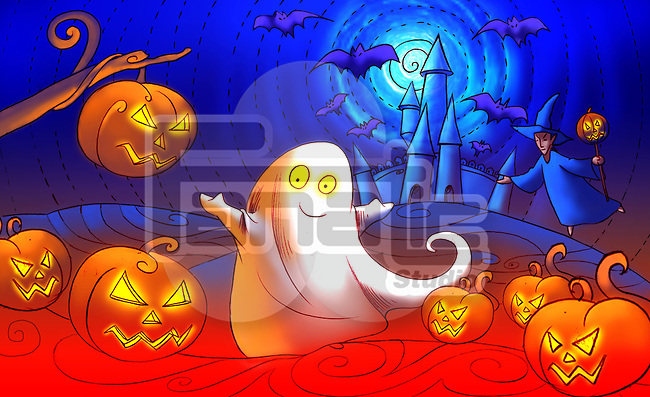 Close-up of Jack O' lanterns with a ghost