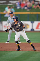 Quad Cities River Bandits right fielder Seth Beer (35) leads off second base during a game against the West Michigan Whitecaps on July 22, 2018 at Modern Woodmen Park in Davenport, Iowa.  West Michigan defeated Quad Cities 6-4.  (Mike Janes/Four Seam Images)