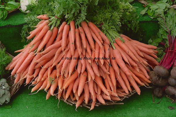 Bunch of carrots from an outdoor market in Paris, France