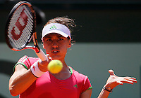 Andrea Petkovic of Germany returns against Maria Sharapova of Russia in the quarter final match of the French Open tennis tournament in Roland Garros stadium in Paris, Wednesday June 1, 2011(foto: Srdjan Stevanovic/Starsportphoto ©)
