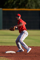 AZL Angels second baseman Drevian Williams-Nelson (6) throws to first base during a game against the AZL Giants Orange at Giants Baseball Complex on June 17, 2019 in Scottsdale, Arizona. AZL Giants Orange defeated AZL Angels 8-4. (Zachary Lucy/Four Seam Images)
