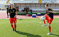 20180307 - LARNACA , CYPRUS :  Belgian Laura De Neve (left) and Heleen Jaques (r) pictured during a women's soccer game between  South Africa and the Belgian Red Flames  , on Wednesday 7 March 2018 at the GSZ Stadium in Larnaca , Cyprus . This is the final game in a decision for 5th or 6th place for Belgium during the Cyprus Womens Cup , a prestigious women soccer tournament as a preparation on the World Cup 2019 qualification duels. PHOTO SPORTPIX.BE | DAVID CATRY