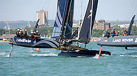 SoftBank Team Japan, JULY 23, 2016 - Sailing: SoftBank Team Japan chases down Land Rover BAR during day one of the Louis Vuitton America's Cup World Series racing, Portsmouth, United Kingdom. (Photo by Rob Munro/Stewart Communications)