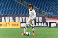 FOXBOROUGH, MA - SEPTEMBER 5: Sergi Nus #5 of Tormenta FC brings the ball forward during a game between Tormenta FC and New England Revolution II at Gillette Stadium on September 5, 2021 in Foxborough, Massachusetts.