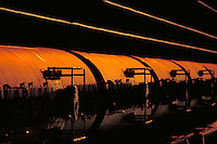 Train tank cars at sunset