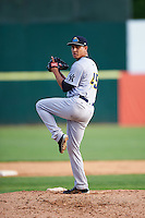 Trenton Thunder relief pitcher Giovanny Gallegos (45) during the first game of a doubleheader against the Hartford Yard Goats on June 1, 2016 at Sen. Thomas J. Dodd Memorial Stadium in Norwich, Connecticut.  Trenton defeated Hartford 4-2.  (Mike Janes/Four Seam Images)