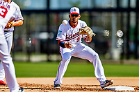 21 February 2019: Washington Nationals infielder Adrian Sanchez takes infield drills during a Spring Training workout at the Ballpark of the Palm Beaches in West Palm Beach, Florida. Mandatory Credit: Ed Wolfstein Photo *** RAW (NEF) Image File Available ***