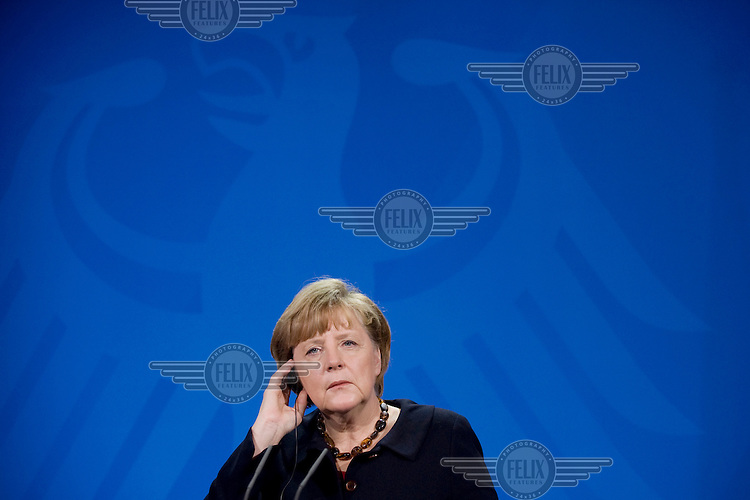 DEU, Deutschland, Germany, Berlin, 30.01.2013.German Chancellor Angela Merkel during a press conference at the Chancellery in Berlin, Germany. International Politics, Germany, Europe, Politican, Portrait, 2013.