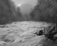 """""""Little River At The Y"""" <br /> Great Smoky Mountains National Park, Tennessee<br /> <br /> This picture was recorded shortly after daybreak near the """"Y"""" just inside the Great Smoky Mountains National Park south of Townsend. The camera faced the sun as it was rising behind the mountain at the top center of the image so the scene contrast was substantial. Film development time was decreased to reduce image contrast on the film. I selected a shutter speed to blur the water enough to provide a feeling of movement but still capture the water's flow patterns. I believe the impression of moving water is good and the feeling of downhill movement is strong, especially in the lower left quadrant of the image. The mist rising from the river adds to the early morning mood of the photograph."""