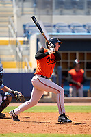 FCL Orioles Orange Jacob Teter (26) singles for his first professional hit during a game against the FCL Rays on August 2, 2021 at Charlotte Sports Park in Port Charlotte, Florida.  (Mike Janes/Four Seam Images)