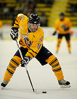29 December 2007: Quinnipiac University Bobcats' forward Mike Atkinson, a Sophomore from Sparta, NJ, in action against the Western Michigan University Broncos at Gutterson Fieldhouse in Burlington, Vermont. The Bobcats defeated the Broncos 2-1 in the first game of the Sheraton/TD Banknorth Catamount Cup Tournament...Mandatory Photo Credit: Ed Wolfstein Photo