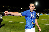 Jonathan Sexton of Leinster celebrates with fans after winning the Amlin Challenge Cup Final between Leinster Rugby and Stade Francais at the RDS Arena, Dublin on Friday 17th May 2013 (Photo by Rob Munro).