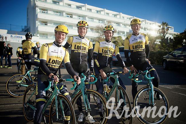 The Team Lotto Jumbo Belgians (from L to R): Tom Van Asbroeck, Kevin De Weert, Maarten Wynants & Sep Vanmarcke<br /> <br /> January 2015, Mojácar, Spain
