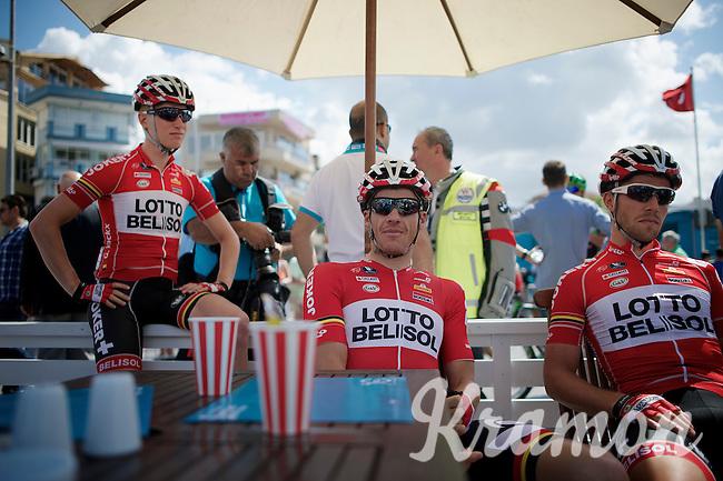 Adam Hansen (AUS/Lotto-Belisol) relaxing before the start with teammates Gert Dockx (BEL/Lotto-Belisol) & Jonas Van Genechten (BEL/Lotto-Belisol)<br /> <br /> Tour of Turkey 2014<br /> stage 5