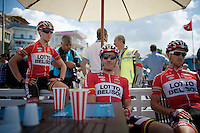 Adam Hansen (AUS/Lotto-Belisol) relaxing before the start with teammates Gert Dockx (BEL/Lotto-Belisol) & Jonas Van Genechten (BEL/Lotto-Belisol)<br /> <br /> Tour of Turkey 2014<br /> stage 5