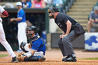 Home plate umpire Frank Sylvester looks on as Duke Blue Devils catcher Chris Proctor (23) frames a pitch during the game against the Florida State Seminoles in the first semifinal of the 2017 ACC Baseball Championship at Louisville Slugger Field on May 27, 2017 in Louisville, Kentucky. The Seminoles defeated the Blue Devils 5-1. (Brian Westerholt/Four Seam Images)