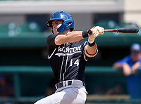 Wharton Wildcats infielder Zach Ehrhard (14) bats during the 42nd Annual FACA All-Star Baseball Classic on June 6, 2021 at Joker Marchant Stadium in Lakeland, Florida.  (Mike Janes/Four Seam Images)