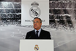 Real Madrid´s President Florentino Perez during Zinedine Zidane presentation as Real Madrid´s new coach at Santiago Bernebeu stadium Madrid, Spain. January 04, 2016. (ALTERPHOTOS/B. Echavarri)