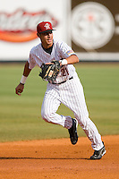 Shortstop Jiovanni Mier #21 of the Greeneville Astros on defense versus the Danville Braves at Pioneer Park June 28, 2009 in Greeneville, Tennessee. (Photo by Brian Westerholt / Four Seam Images)
