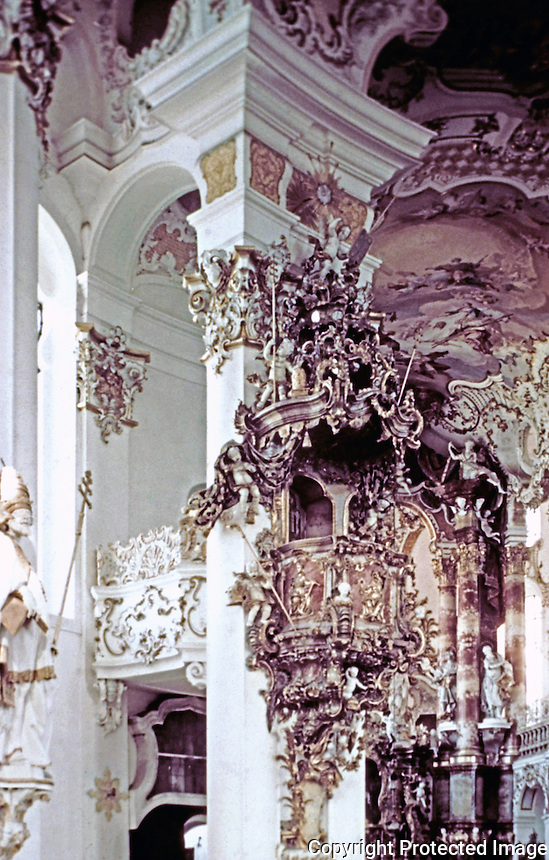 The Pilgrimage Church of Wies, an oval rococo church, designed in the late 1740s by brothers J. B. and Dominikus Zimmermann. Bavaria, Germany. Rococo style