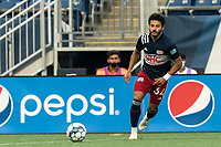 FOXBOROUGH, MA - AUGUST 7: Ryan Spaulding #34 of New England Revolution II passes the ball during a game between Orlando City B and New England Revolution II at Gillette Stadium on August 7, 2020 in Foxborough, Massachusetts.