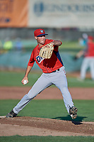 Orem Owlz starting pitcher Cole Duensing (34) delivers a pitch to the plate against the Ogden Raptors at Lindquist Field on June 26, 2018 in Ogden, Utah. The Raptors defeated the Owlz 6-5. (Stephen Smith/Four Seam Images)