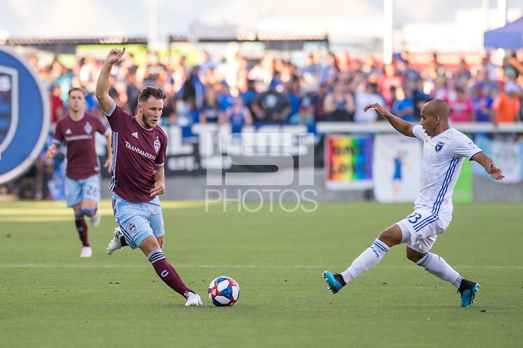 SAN JOSÉ CA - JULY 27: Keegan Rosenberry #7 and Judson #93 during a Major League Soccer (MLS) match between the San Jose Earthquakes and the Colorado Rapids on July 27, 2019 at Avaya Stadium in San José, California.