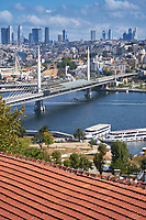 View of Golden Horn and Metro bridge, Istanbul, Turkey