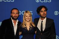 Johnny Galecki, Melissa Rauch, Kuhal Hayyar - Big Bang Theory at at the CBS Upfront on May 15, 2013 at Lincoln Center, New York City, New York. (Photo by Sue Coflin/Max Photos)