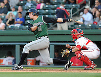 Outfielder Brett Krill (10) of the Augusta GreenJackets, a San Francisco Giants affiliate, in a game against the Greenville Drive on April 19, 2012, at Fluor Field at the West End in Greenville, South Carolina. (Tom Priddy/Four Seam Images)
