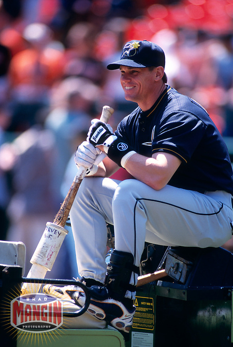 SAN FRANCISCO, CA - Craig Biggio of the Houston Astros sits on a tractor during batting practice before a game against the San Francisco Giants at Candlestick Park in San Francisco, California in 1999. Photo by Brad Mangin