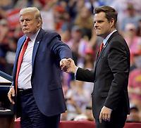 SUNRISE, FLORIDA - NOVEMBER 26: President Donald Trump, Matt Gaetz attends a homecoming campaign rally for U.S. President Donald Trump at the BB&T Center on November 26, 2019 in Sunrise, Florida.<br /> <br /> People:  President Donald Trump, Matt Gaetz