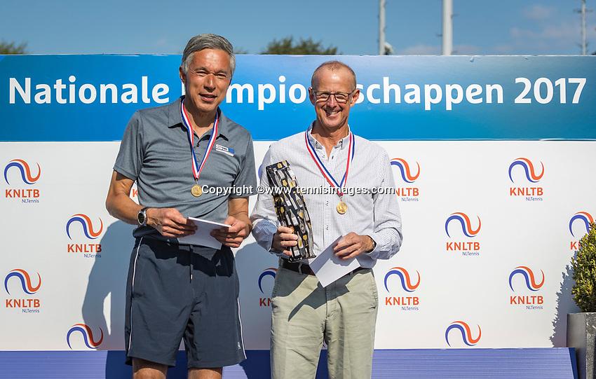 Etten-Leur, The Netherlands, August 27, 2017,  TC Etten, NVK, Winner men's  65+ Martin Koek (R) and runner up Rolf Thung<br /> Photo: Tennisimages/Henk Koster