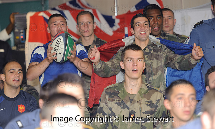 THE FRENCH WATCH THE RUGBY WORLD CUP QUARTER FINAL BETWEEN FRANCE AND ENGLAND ON THE HMS BULWARK WHILST ON A BREAK FROM A JOINT EXERCISE IN LOCH EWE AND OFF THE SCOTTISH ATLANTIC COAST