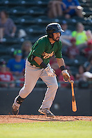 Luis Guillorme (13) of the Savannah Sand Gnats starts down the first base line against the Hickory Crawdads at L.P. Frans Stadium on June 14, 2015 in Hickory, North Carolina.  The Crawdads defeated the Sand Gnats 8-1.  (Brian Westerholt/Four Seam Images)