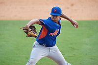 Pitcher Blair Frederick (11) of Brother Martin High School in New Orleans, Louisiana playing for the New York Mets scout team during the East Coast Pro Showcase on July 29, 2015 at George M. Steinbrenner Field in Tampa, Florida.  (Mike Janes/Four Seam Images)