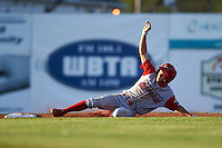 Williamsport Crosscutters outfielder Zachary Coppola (11) slides into second after hitting a double during a game against the Batavia Muckdogs on July 15, 2015 at Dwyer Stadium in Batavia, New York.  Williamsport defeated Batavia 6-5.  (Mike Janes/Four Seam Images)