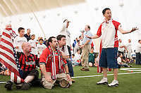 USA fans react to a US goal being waved off in the second half. The Red Bulls hosted a FIFA World Cup viewing party for the USA v Italy match at the Giants Stadium practice bubble, East Rutherford, NJ, June 17, 2006.