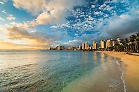 A sunny, peaceful day at a beach in Waikiki, East O'ahu.