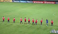 PEREIRA - COLOMBIA, 12-05-2021: Jugadores de Nacional (URU) antes de partido del grupo F fecha 4 entre Atletico Nacional (COL) y Club Nacional de Futbol (URU) por la Copa CONMEBOL Libertadores 2021 en el estadio Hernan Ramirez Villegas de la ciudad de Pereira. / Players of Nacional (URU) prior a match of the group F for the group phase, 4th date between between Atletico Nacional (COL) and Club Nacional de Futbol (URU) for the Copa CONMEBOL Libertadores 2021 at the Hernan Ramirez Villegas stadium in Pereira city. / Photo: VizzorImage / Pablo Bohorquez / Cont.