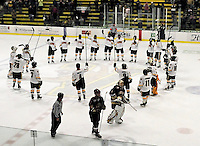 18 October 2009: The University of Vermont Catamounts salute their fans after a game against the Boston College Eagles at Gutterson Fieldhouse in Burlington, Vermont. The Catamounts defeated the Eagles 4-1 to open Vermont's America East hockey season. Mandatory Credit: Ed Wolfstein Photo